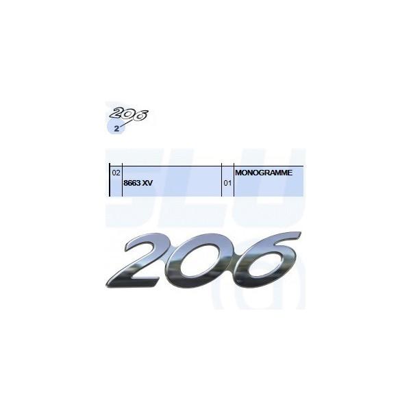 monogramme autocollant logo 206 pour peugeot pi ce d 39 origine slugauto. Black Bedroom Furniture Sets. Home Design Ideas